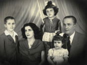 Family of Brazilian president Dilma Rousseff (left to right): Igor (brother), Dilma Jane Silva (mother), Dilma Rousseff (as a child), Zana Lúcia (sister), and Pedro Rousseff (originally Pétar Rusév; her Bulgarian father).