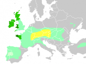 Diachronic distribution of Celtic peoples: core Hallstatt territory, by the 6th century BC maximal Celtic expansion, by 275 BC