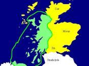 English: Extent of the Kingdom of Dál Riata (in green), c. AD 590. Yellow areas show occupation by the Picts. Español: Mapa de Dalriada hacia el año 590. Las regiones pictas están marcadas en amarillo.