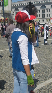 A cosplayer portraying Ash Ketchum from Pokémon at the 2010 Northern California Cherry Blossom Festival.