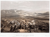 English: Print shows the Enniskillen Dragoons and the 5th Dragoon Guards engaging the Russian cavalry in the midst of the camp of the light cavalry brigade which is being plundered by the Russian troops during the battle of Balaklava.