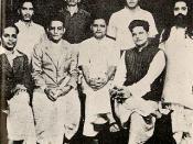 Group photo of Hindu Mahasabha. Standing: Shankar Kistaiya, Gopal Godse, Madanlal Pahwa, Digambar Badge (Approver), Guruji M.S. Golwalkar. Seated: Narayan Apte, Vinayak D. Savarkar, Nathuram Godse, Vishnu Karkare