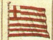 English: British East India Company flag from Flag Chart published by B. Lens c. 1700.