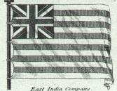 English: British East India Company flag plate in Rees's Cyclopedia, 1820
