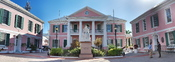 English: Parliament of the Bahamas, located in downtown Nassau, is the meeting place of the two houses of the Bahamian Parliament.