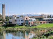 The University Center and Storke Tower at the University of California, Santa Barbara. This photograph was taken from the other side of the UCSB Lagoon. Photographed on April 2, 2006 by user Coolcaesar.