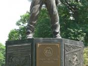 The West Virginia Coal Miner is a bronze statue by sculptor Burl Jones. The statue was dedicated in December of 2002, and stands on the grounds of the West Virginia State Capitol complex in Charleston, WV, USA. Photo taken with a Panasonic Lumix DMC-FZ20
