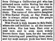 Article in the San Francisco Chronicle of 19 oct 1898, announcing erroneously the first woman rabbi (Rachel Ray Frank)