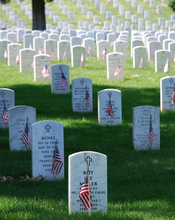 English: Picture of graves decorated with flags at Arlington National Cemetery on Memorial Day 2008.