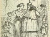 Coriolanus parting from his Wife and Family, drawing by John Leech, from: The Comic History of Rome by Gilbert Abbott A Beckett. Bradbury, Evans & Co, London, 1850s