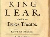 Cover of Tate's The History of King Lear
