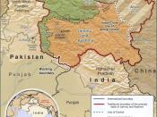 The Kashmir region (Kashmir valley is left of the center of the map - see enlargement)