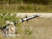 A soldier launches a FGM-148 Javelin anti-tank missile Weight (missile and CLU): 49.5 lbs Length overall: 3 ft 6 in Range: In excess of 2500m Crew: 2 Manufacturer: A joint venture between Raytheon (Tucson, AZ) and Lockheed Martin (Orlando, FL).