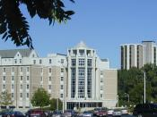 English: The University of Toledo : Horton International House and Parks Tower. Facing north-east. Date: 8/15/2002