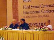 Vandana Shiva addressing the Hind Swaraj Centenary International Conferenc