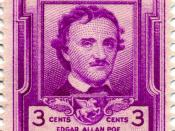 English: Edgar Allen Poe, poet and writer, commemorated in US postage stamp of 1949.