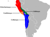 The Four Suyus of the Inca Empire. In red the Imperial Province of Chinchansuyu, in green Antisuyu, in blue Collasuyu, in orange Cuntisuyu.