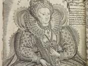 Engraving of Queen Elizabeth I, with chronogram recording the year of her death (1603)