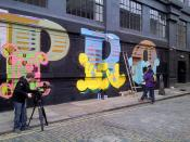 Went down Shoreditch and had a chat with Tez and Vazy whose helping Ben Eine paint the 'Protagonists' mural on Ebor Street in Shoreditch