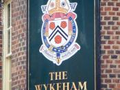 English: Sign for the Wykeham Arms The arms of William of Wykeham (1324-1404), 14th Bishop of Winchester, Lord Chancellor of England and founder of Winchester College and New College, Oxford.