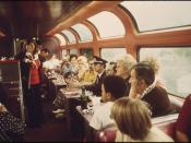 Bingo is available for passengers who wish to play in the lounge car of the Southwest Limited enroute between Albuquerque New Mexico, and Dodge City, Kansas, June 1974