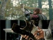 Boromir (Sean Bean) using the horn in The Lord of the Rings: The Fellowship of the Ring (top), and Denethor (John Noble) holding the broken horn in The Lord of the Rings: The Return of the King (bottom).