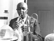 English: George Washington Carver, American botanist and inventor, at work in his laboratory Français : George Washington Carver, botaniste américain et inventeur, au travail dans son laboratoire Original caption: Series VII.1, Photographs, Box 7.1/3, fil