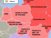 English: The Eastern Bloc - after the annexations and installations. Dark red is the expanded Russian SFSR, light red are annexed or expanded Soviet Socialist Republics and pink are Soviet satellite states.