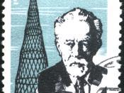 1963 Soviet Union 4 kopeks stamp. Vladimir Grigorievich Shukhov