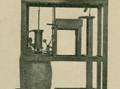 Photo of model Newcomen steam engine at University of Glasgow, Scotland, improved by James Watt between 1763 and 1775, resulting in the first modern steam engine. Alterations: cropped out frame and caption, increased brightness. The caption read: 'The New