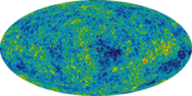 English: The Cosmic Microwave Background temperature fluctuations from the 5-year Wilkinson Microwave Anisotropy Probe data seen over the full sky. The average temperature is 2.725 Kelvin (degrees above absolute zero; absolute zero is equivalent to -273.1
