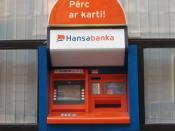 A Hansabanka ATM in Riga, Latvia.