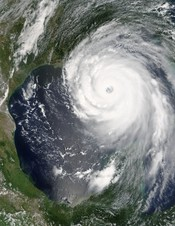 Hurricane Katrina in the Gulf of Mexico near its peak Category 5 intensity