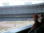 English: Color photo of the Old Yankee Stadium before a Yankees – Red Sox game in September 1959.