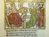 Woodcut illustration of the rape of Lucretia by Sextus Tarquinius and her subsequent suicide before her husband Lucius Tarquinius Collatinus and Lucius Junius Brutus