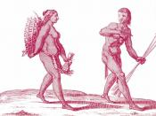 English: A Kali'na hunter with a woman gatherer. Français : Un chasseur Kali'na avec une cueilleuse. Español: Cazador Kali'na con una mujer. Italiano: Cacciatore Kali'na i una donna alla raccolta.