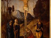 Crucifixion of Jesus of Nazareth, by Marco Palmezzano (Uffizi, Florence), painting ca. 1490