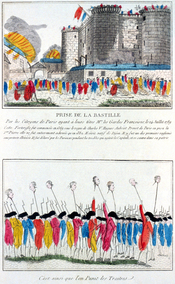 French etching from 1789 depicting the storming of the Bastille, during which Bernard René Jourdan died.