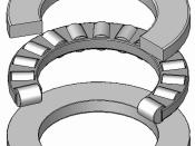 Axial-Zylinderrollenlager, Blechkaefig aus Stahl, zerlegbar, Explosionsdarstellung, 120°Schnitt, Hinweis: Innenaufbau des Lagers (insbesondere des Kaefigs) variiert je nach Hersteller und Baugroesse rolling contact bearings