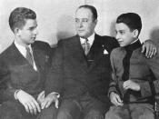 Anastasio Somoza García and his sons Luis Somoza Debayle (left) and Anastasio Somoza Debayle (right).
