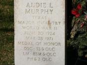 Audie Murphy's tombstone. Murphy was the most decorated American soldier who served in World War II.