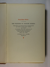 English: A photograph of the series title page in The Writings of Charles Dickens volume 4, Oliver Twist.