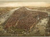 English: Bird's eye panorama of Manhattan & New York City in 1873