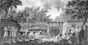 English: James Cook, English navigator, witnessing human sacrifice in Taihiti (Otaheite) c. 1773.jpg James Cook, English navigator, witnessing human sacrifice in Taihiti (Otaheite) c. 1773. Engraving from an 1815 edition of Cook's 'Voyages'