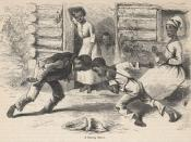 A drawing of slaves, made by whites, 2 generations after the end of slavery.