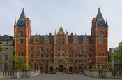 A 3×4 segment panoramic image of the Royal College of Music in London, England. Taken by myself with a Canon 5D and 70-200mm f/2.8L lens at 70mm.