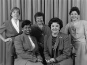 The Senate Democratic women in 1993. L-R: Murray, Moseley Braun, Mikulski, Feinstein, Boxer.