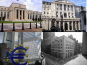 English: Clockwise from top-left: Federal Reserve, Bank of England, European Central Bank, Bank of Canada (Note: Uploaded for use on Wikinews)