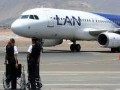 LAN Airlines' Airbus A320 (CC-COT) and some members of its ground staff at the Arequipa Airport