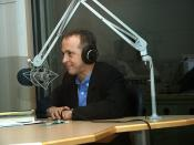 English: David Sedaris at WBUR studios in June 2008.